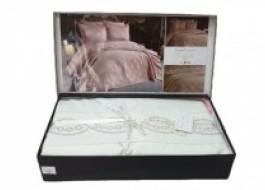 Set de lux cuvertura jacquard + cearceaf pat + 4 fete perna, Dilara Cream