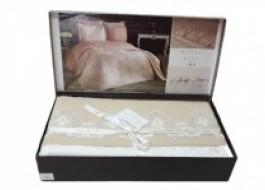 Set de lux cuvertura jacquard + cearceaf pat + 4 fete perna, Elena Beige