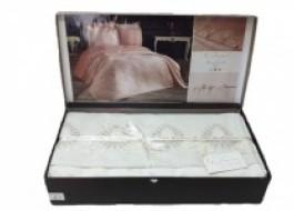 Set de lux cuvertura jacquard + cearceaf pat + 4 fete perna, Elena Cream