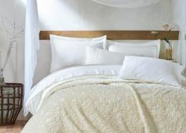 Set de lux lenjerie de pat si patura, Cotton Box, Emboss - Ecru