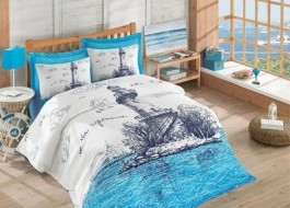 Set de pat 4 anotimpuri bumbac 100% ranforce, Cotton Box, Lighthouse - Blue