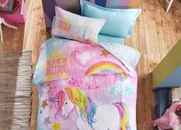 Set de pat 4 anotimpuri copii, bumbac 100% ranforce, 1 persoana, Dream - Mint