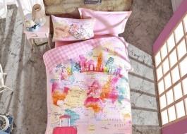 Set de pat 4 anotimpuri copii, bumbac 100% ranforce, 1 persoana, Escape - Pink