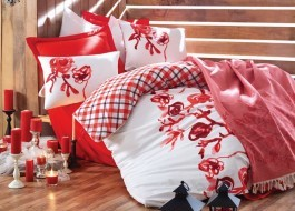Set de pat lenjerie si pled, Cotton Box, Scarlet Red