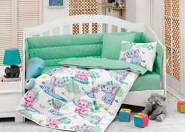 Set dormit pentru bebelusi, cu protectie pt patut, bumbac 100% ranforce, Elefant, mint