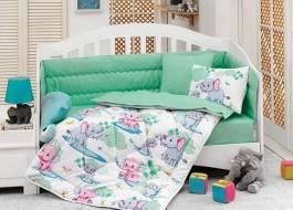 Set dormit pentru bebelusi, cu protectie pt patut, bumbac 100% ranforce, Elephant Mint