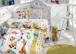 Set dormit pentru bebelusi, cu protectie pt patut, bumbac 100% ranforce, Girafa