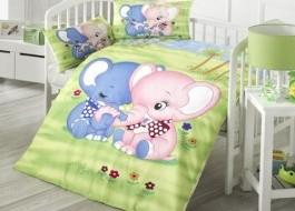 Set dormit pentru bebelusi, cu protectie pt patut, bumbac 100% , Elefant Verde