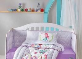 Set dormit pentru bebelusi, cu protectie pt patut, bumbac 100% ranforce, Sirena, lila