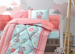 Set dormit pentru bebelusi, cu protectie pt patut, bumbac 100% ranforce, Elefant, roz