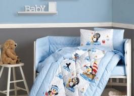 Set dormit pentru bebelusi, cu protectie pt patut, bumbac 100% ranforce, Pinguini