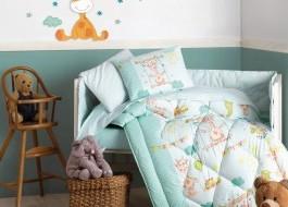 Set dormit pentru bebelusi, cu protectie pt patut, bumbac 100% ranforce, Zurafa - Green