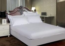 Set husa de pat din damasc+ 2 fete de perna pentru saltea de 120x200cm, alb, DHUS6