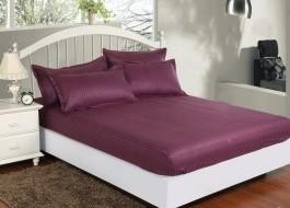 Set husa de pat din damasc+ 2 fete de perna pentru saltea de 120x200cm, mov, DHUS3