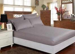 Set husa de pat din damasc+ 2 fete de perna pentru saltea de 140x200cm gri, DHUS4