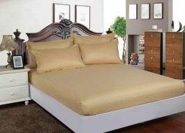 Set husa de pat din damasc+ 2 fete de perna pentru saltea de 140x200cm bej, DHUS7