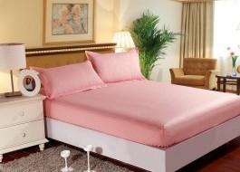 Set husa de pat din damasc+ 2 fete de perna pentru saltea de 160x200cm roz, HDAM17