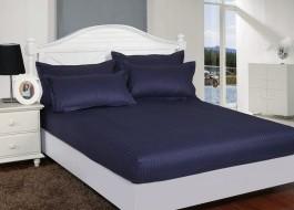 Set husa de pat din damasc+ 2 fete de perna pentru saltea de 160x200cm bleumarin, HDAM18