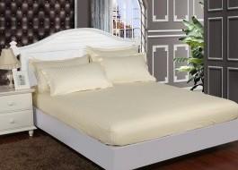 Set husa de pat din damasc+ 2 fete de perna pentru saltea de 180x200cm ecru, DAM2