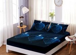 Set husa de pat din finet + 2 fete de perna pentru saltea de 140x200cm HPF19