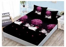 Set husa de pat din finet + 2 fete de perna pentru saltea de 140x200cm HPF202
