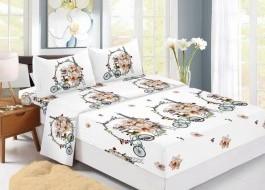 Set husa de pat din finet + 2 fete de perna pentru saltea de 140x200cm HPF306