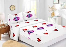 Set husa de pat din finet + 2 fete de perna pentru saltea de 140x200cm HPF311