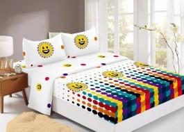 Set husa de pat din finet + 2 fete de perna pentru saltea de 140x200cm HPF315