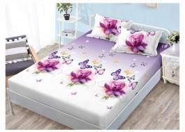 Set husa de pat din finet + 2 fete de perna pentru saltea de 140x200cm HPF39