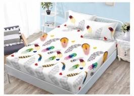 Set husa de pat din finet + 2 fete de perna pentru saltea de 140x200cm HPF46