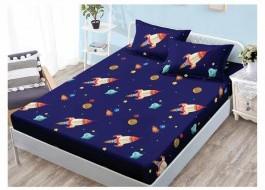 Set husa de pat din finet + 2 fete de perna pentru saltea de 140x200cm HPF54