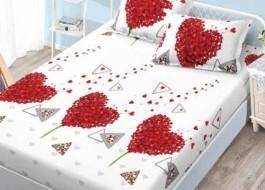 Set husa de pat din finet + 2 fete de perna pentru saltea de 140x200cm HPF57