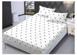 Set husa de pat din finet + 2 fete de perna pentru saltea de 140x200cm HPF66