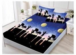 Set husa de pat din finet + 2 fete de perna pentru saltea de 140x200cm HPF74