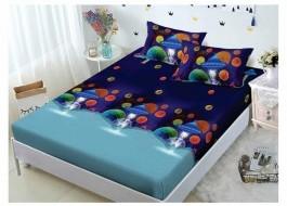 Set husa de pat din finet + 2 fete de perna pentru saltea de 140x200cm HPF91