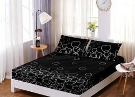 Set husa de pat din finet + 2 fete de perna pentru saltea de 160x200cm HPF103