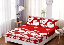 Set husa de pat din finet + 2 fete de perna pentru saltea de 160x200cm HPF11