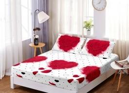 Set husa de pat din finet + 2 fete de perna pentru saltea de 160x200cm HPF122