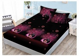 Set husa de pat din finet + 2 fete de perna pentru saltea de 160x200cm HPF129