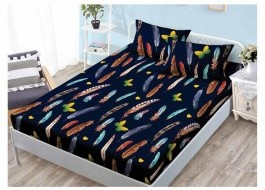 Set husa de pat din finet + 2 fete de perna pentru saltea de 160x200cm HPF130