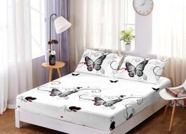 Set husa de pat din finet + 2 fete de perna pentru saltea de 160x200cm HPF155