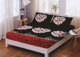 Set husa de pat din finet + 2 fete de perna pentru saltea de 160x200cm HPF210