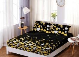Set husa de pat din finet + 2 fete de perna pentru saltea de 160x200cm HPF219