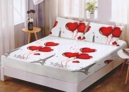 Set husa de pat din finet + 2 fete de perna pentru saltea de 160x200cm HPF230
