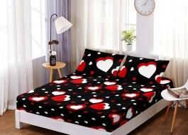 Set husa de pat din finet + 2 fete de perna pentru saltea de 160x200cm HPF28