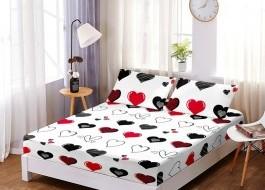 Set husa de pat din finet + 2 fete de perna pentru saltea de 160x200cm HPF282