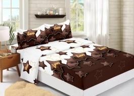 Set husa de pat din finet + 2 fete de perna pentru saltea de 160x200cm, Stars, HPF305