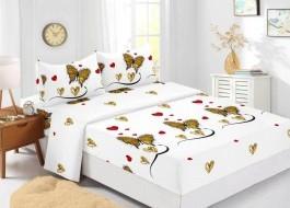 Set husa de pat din finet + 2 fete de perna pentru saltea de 160x200cm HPF307