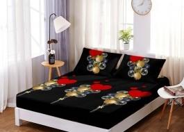 Set husa de pat din finet + 2 fete de perna pentru saltea de 160x200cm HPF34