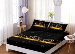 Set husa de pat din finet + 2 fete de perna pentru saltea de 160x200cm HPF5